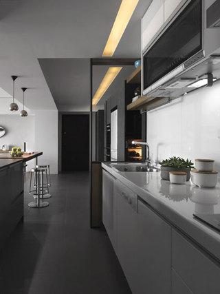 现代简约灰白色厨房装修效果图