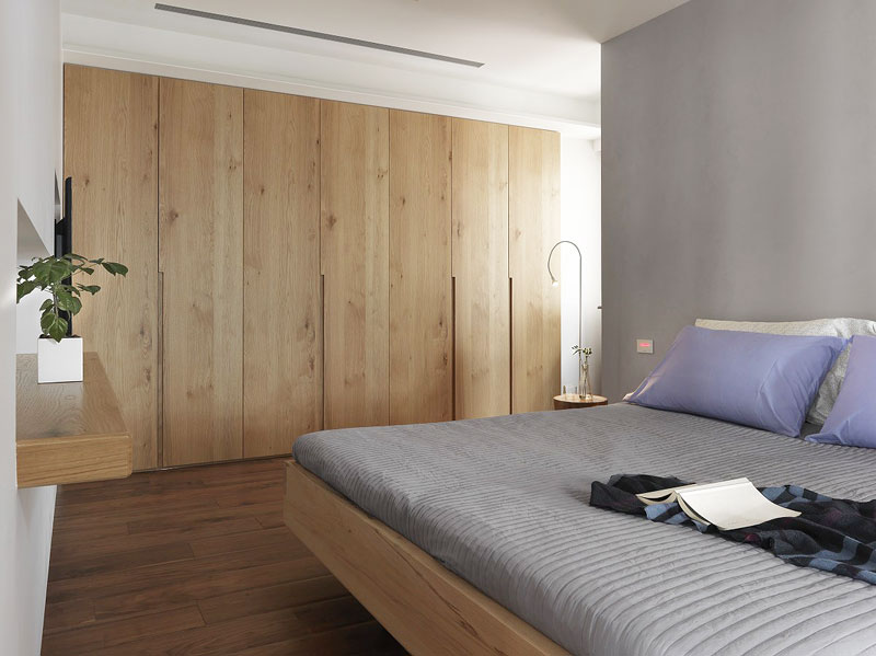 宜家风卧室 原木色背景墙设计
