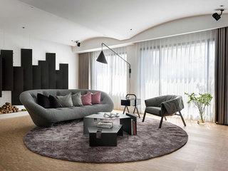 时尚黑白灰现代简约风客厅效果图