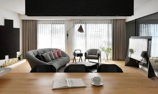 现代简约清新灰色客厅装修效果图