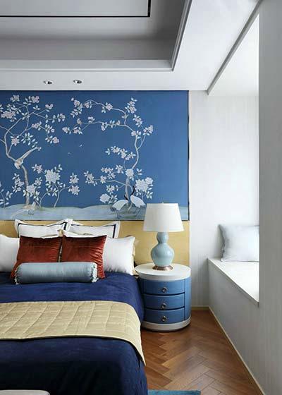 蓝色新古典卧室背景墙图片