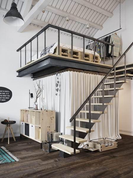 精致阁楼公寓原木小楼梯装修效果图