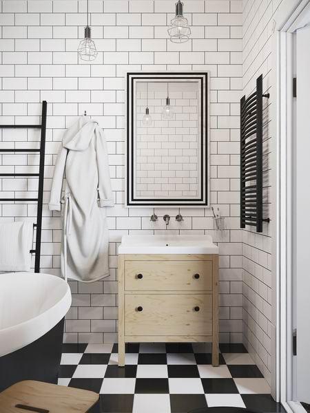 经典黑白配 北欧风浴室瓷砖设计