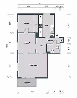 37.5平米单身公寓小户型平面图