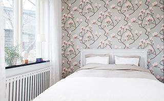 清新北欧风卧室碎花壁纸效果图