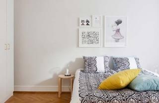 浪漫宜家风卧室 床头背景照片墙实景图