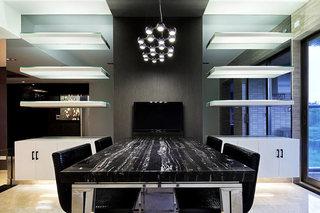 170平大户型黑色餐厅效果图