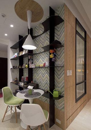 48平米小户型婚房小餐厅工业风展示架设计