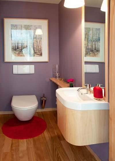 紫色系卫生间布置摆放图