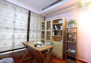 89㎡东南亚风格原木书房设计效果图