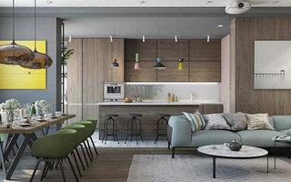 150平北欧缤纷客厅餐厅一体设计