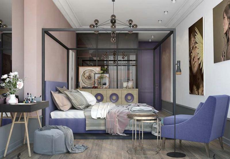 150平北欧紫色卧室装修设计