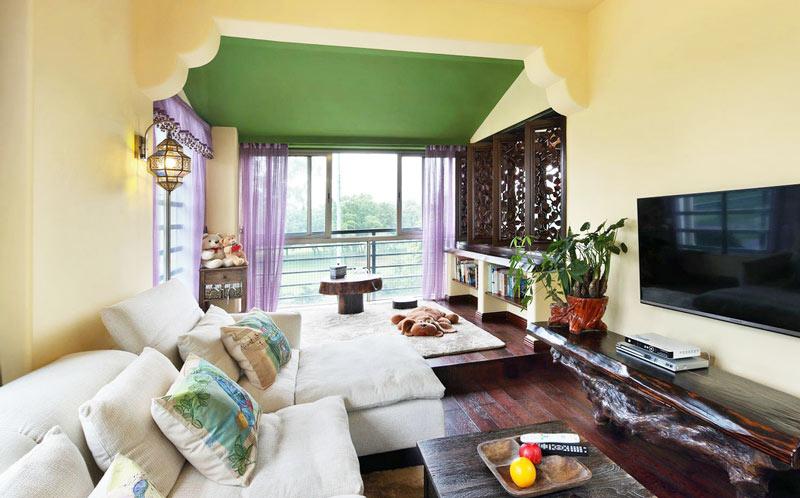 45平米东南亚风格客厅装修图