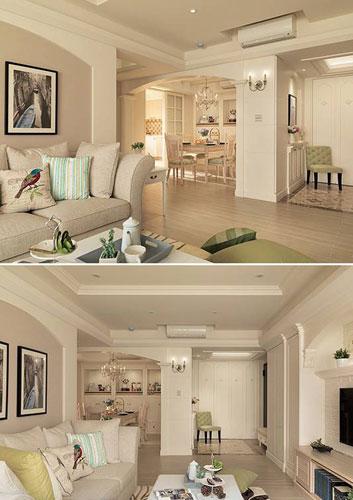 美式风格三居室130平米效果图