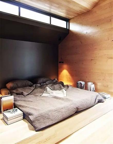 工业风格卧室地台床效果图
