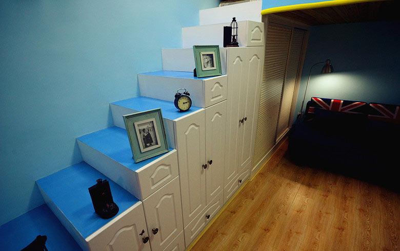 蓝白地中海风 创意楼梯柜设计图