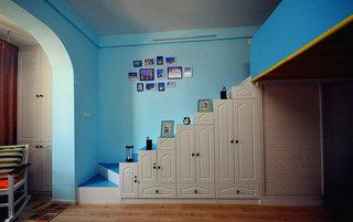 40平地中海风格楼梯改造衣柜设计