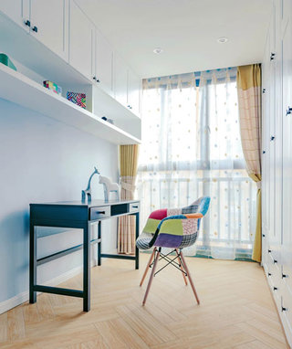 93平三室两厅蓝白色书房图片大全