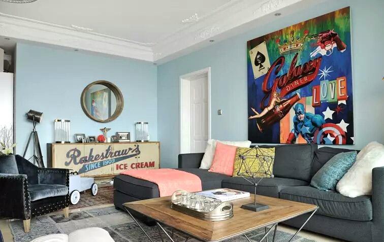 90平混搭风格客厅装修图