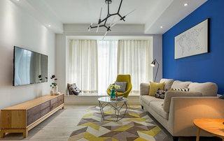 89平现代简约清新客厅装修效果图