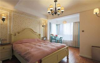 75平米混搭小户型粉色卧室设计图