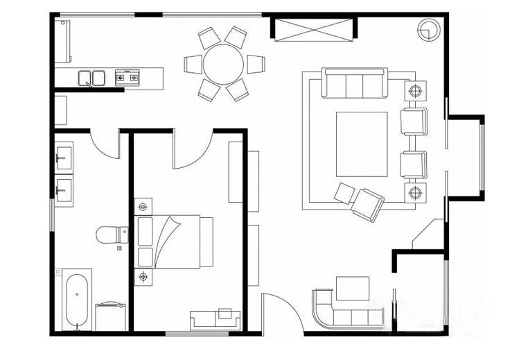 房间的平面图简画法