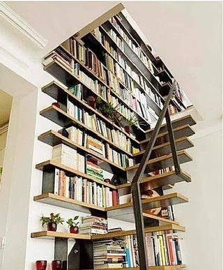 创意书柜楼梯实景图