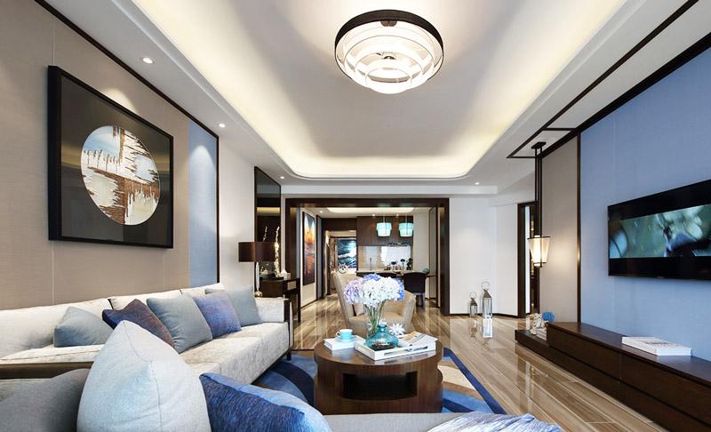 豪华大气新中式 客餐厅吊顶设计