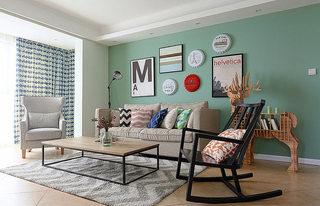 75平美式风格绿色沙发背景墙效果图