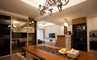 120平美式乡村风格餐厅厨房一体装修
