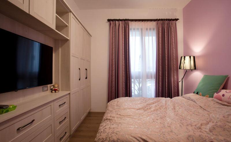 120平美式乡村风格紫色卧室设计效果图