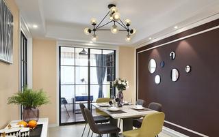 简约美式餐厅 咖色系背景墙效果图