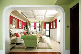 英式田园风 清新红绿色客厅装潢大全