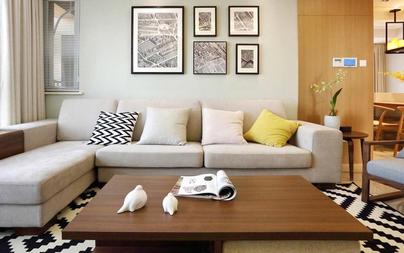 文艺简约风客厅 沙发照片墙设计