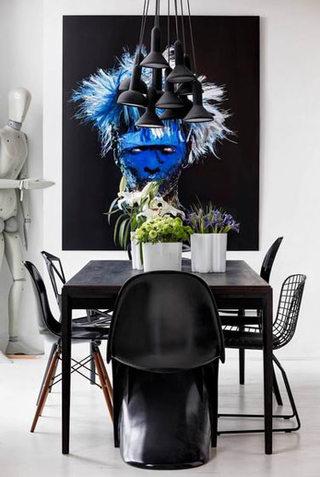 76平北欧黑色餐厅设计效果图