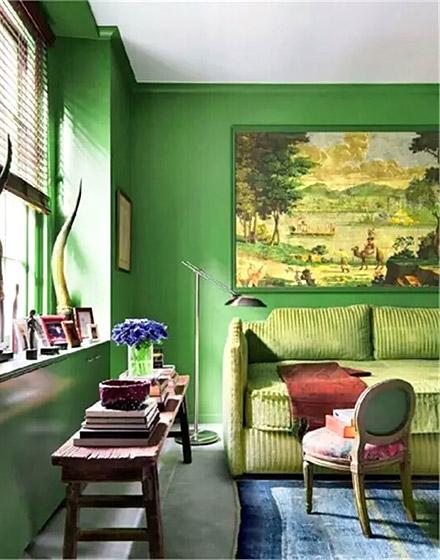 清新绿色客厅装修设计图