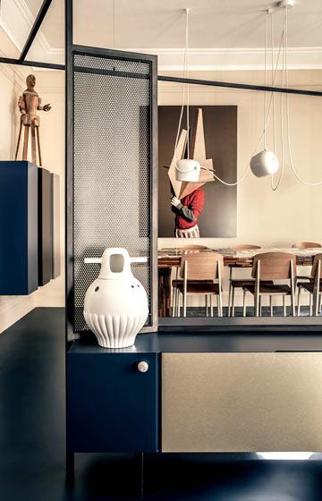 180平米巴黎公寓客餐厅隔断设计图