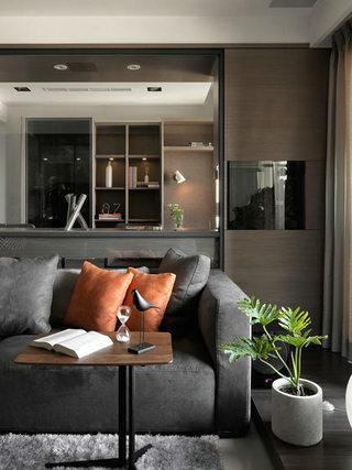 82平现代简约风格灰色客厅沙发效果图