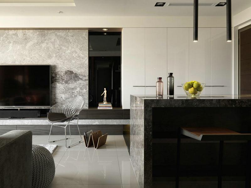 82平现代简约风格大理石客餐厅设计图