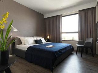 咖色系都市现代风卧室效果图