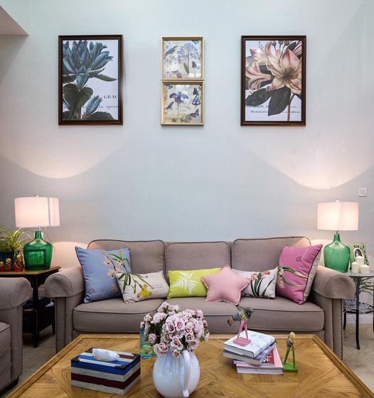 168平美式现代风格客厅沙发背景墙图片