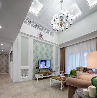 精致优雅美式客厅 电视背景墙设计