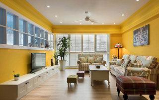 130平米田园四居客厅吊顶设计