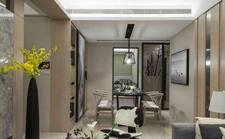 104平米现代简约餐厅吊顶装饰图片