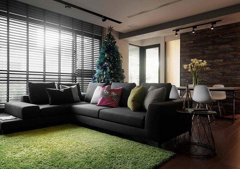 148平简约圣诞客厅沙发背景墙设计