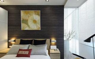 时尚简中式主卧 木质背景墙效果图