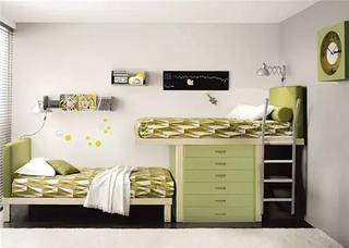 清新儿童房高低床装修效果图
