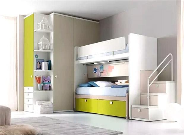 清新儿童房高低床设计效果图