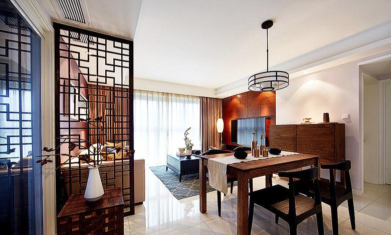 典雅新中式客餐厅隔断设计
