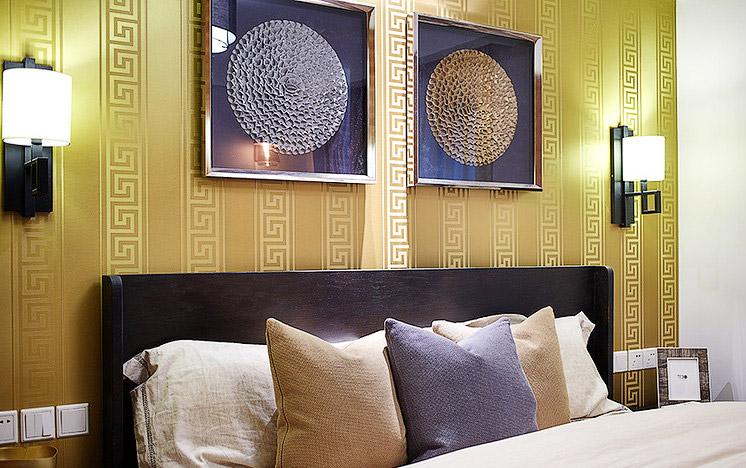 精美华丽新中式 主卧床头背景墙装修